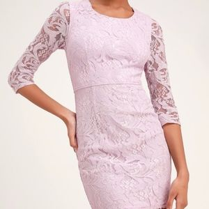 Lulus All For You Lavender Lace Long Sleeve Dress
